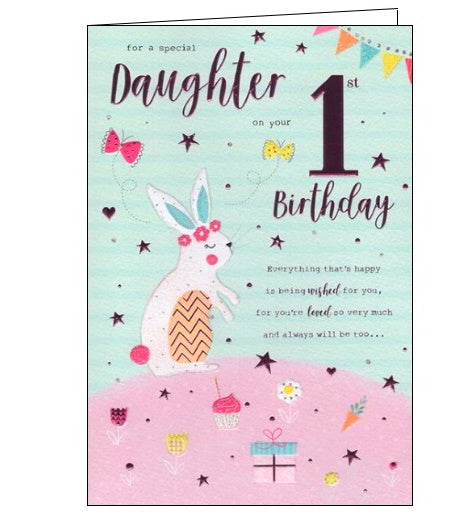 ICG For a special daughter on your 1st birthday card Nickery Nook