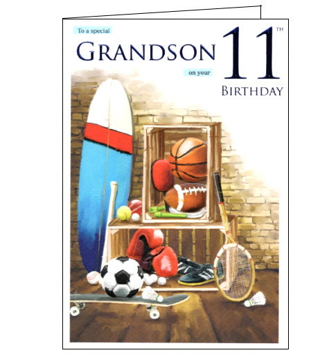 ICG For a special grandson on your 11th birthday card Nickery Nook