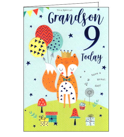 ICG For a special grandson on your 9th Birthday card Nickery Nook