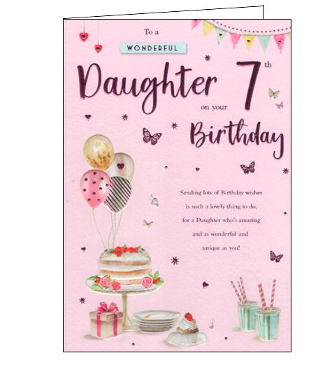 ICG For a wonderful daughter on your 7th Birthday card Nickery Nook