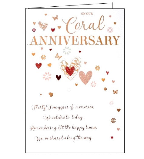 ICG On our coral wedding anniversary card Nickery Nook