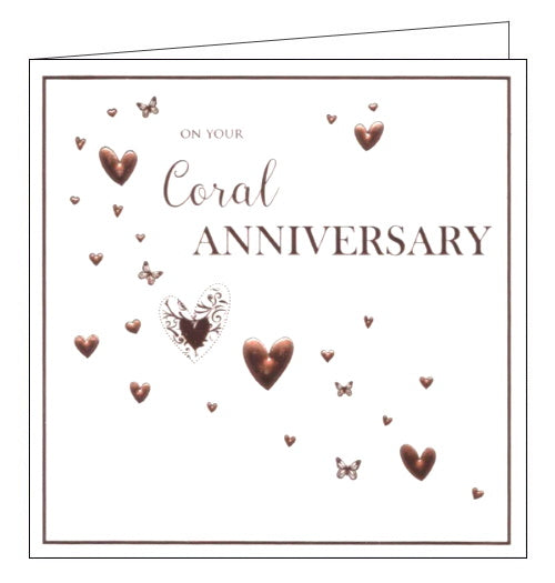 ICG On your coral wedding anniversary card Nickery Nook square