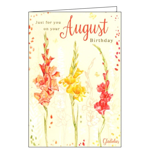 ICG august birthday flower facts birthday card Nickery Nook