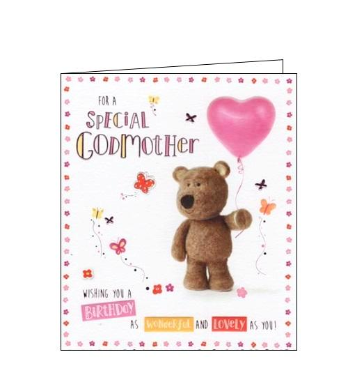 ICG barley the bear cute special godmother birthday card Nickery Nook