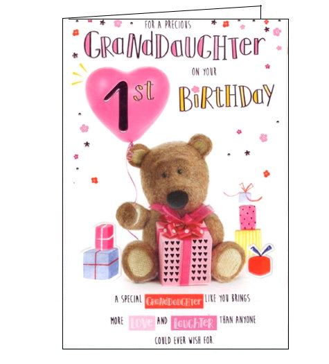 ICG barley the brown bear granddaughter 1st birthday card Nickery Nook