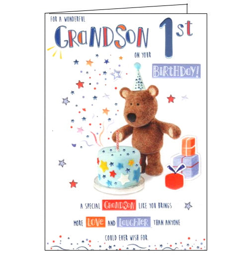 ICG barley the brown bear grandson 1st birthday card Nickery Nook