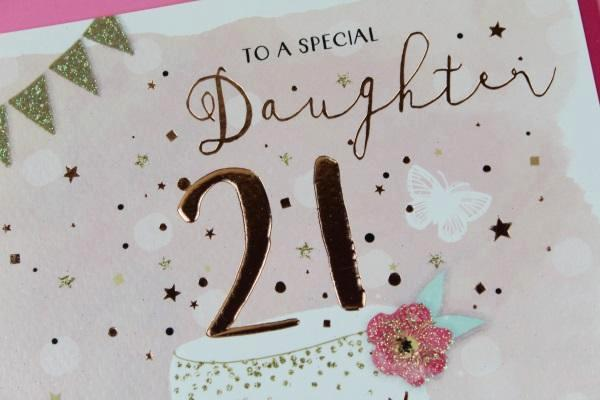 ICG Birthday Cards To A Daughter 21st Wishes Happy Rose Gold 21