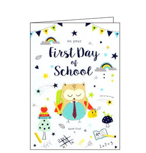 ICG blue first day of school card Nickery Nook