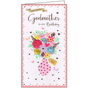 ICG daughter in law godmother Happy Birthday flowers birthday card Nickery Nook