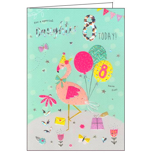 ICG flamingo daughter on your 8th birthday card Nickery Nook