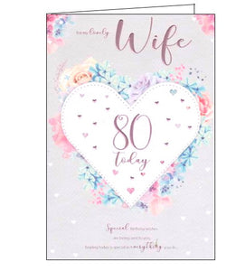 ICG florals flowers lovely wife on your 80th birthday card Nickery Nook