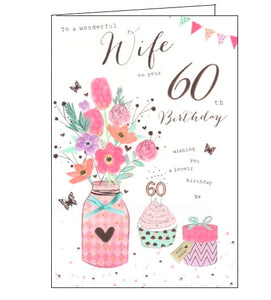 ICG florals flowers wonderful wife on your 60th birthday card Nickery Nook