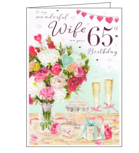 ICG florals flowers wonderful wife on your 65th birthday card Nickery Nook
