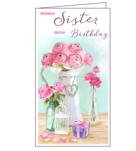 ICG flowers to a special sister birthday card Nickery Nook