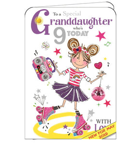 ICG granddaughter on your 9th birthday card Nickery Nook