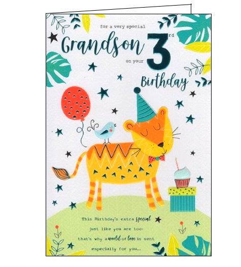 ICG happy 3rd birthday grandson card Nickery Nook