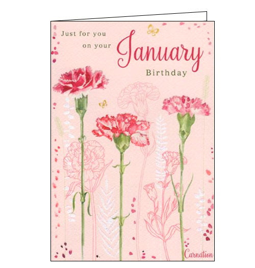 ICG january carnation garnet birthday card