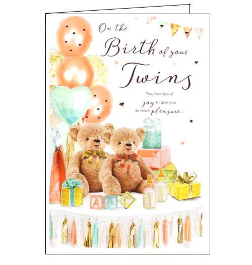 ICG on the birth of your twins card new babies card Nickery Nook