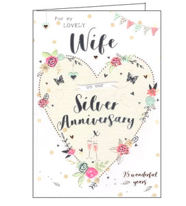 ICG wife on our silver 25th anniversary card Nickery Nook