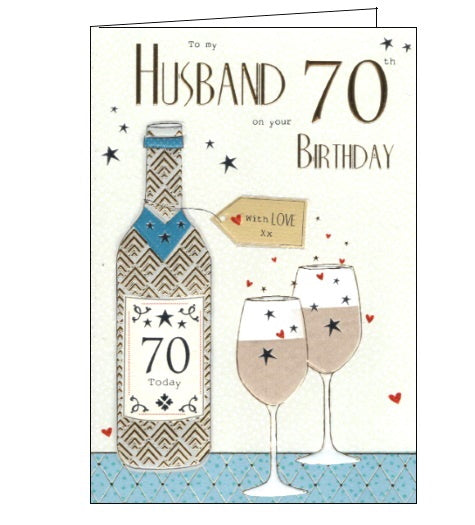 ICG wine husband on your 70th birthday card Nickery Nook