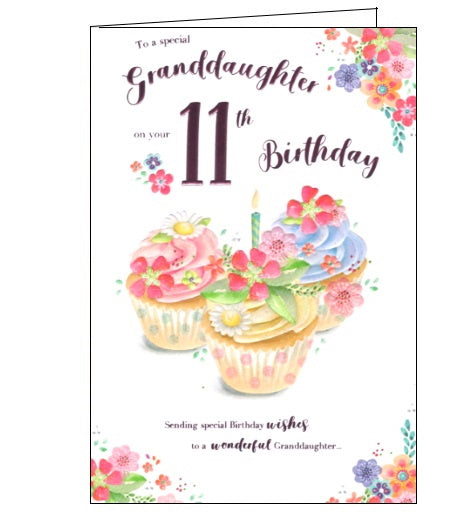 ICG  wonderful Granddaughter on your 11th birthday card Nickery Nook