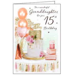 ICG  wonderful Granddaughter on your 15th birthday card Nickery Nook