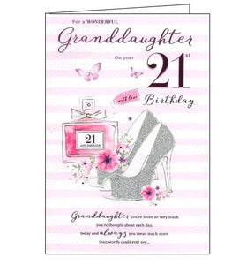 ICG  wonderful Granddaughter on your 21st birthday card Nickery Nook