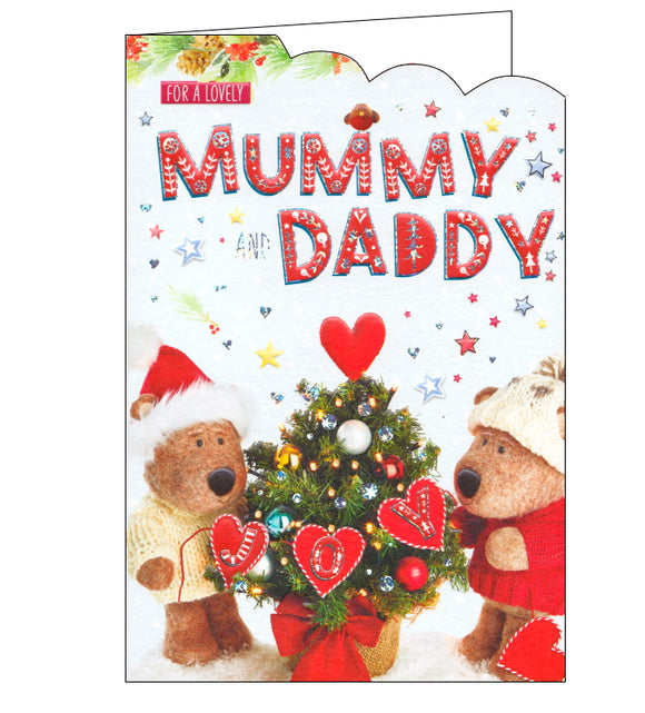 ICG barley brown bear mummy and daddy christmas card