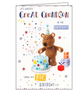 ICG barley the bear birthday cards for great grandson