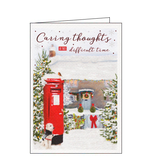 ICG christmas card showing dog in a coat by a snow-covered letter box. Red metallic foil reads