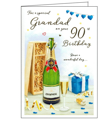 This 90th birthday card for a very special grandad features a detailed illustration of a bottle of champagne. Gold text on the front of the card reads