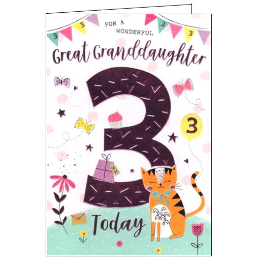 A cute cat in its party best is surrounded by purple hearts, flowers, birthday presents and treats on the front of this third birthday card. The text on the front of the card reads
