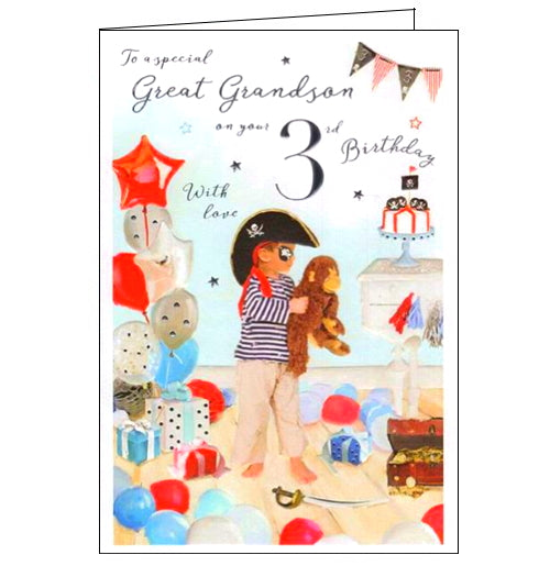 This 3rd birthday card for a special Great-Grandson is decorated with a scene of a young boy in a pirate hat, bandana and eye patch surrounded by party balloons. Silver text on the front of the card reads
