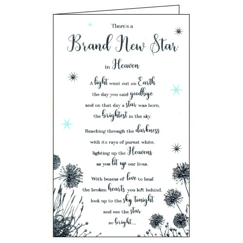 ICG new star in heaven sympathy card