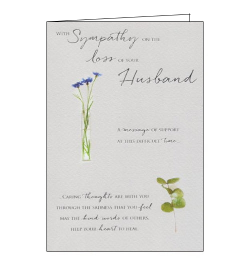A beautiful, simple sympathy card to show the recipient that you are thinking of them at a difficult time. This sympathy card features silver text that reads