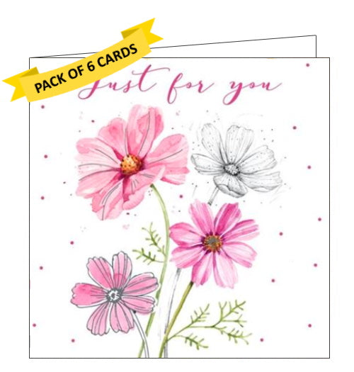 ICG pack of 6 just for you notelets daisies