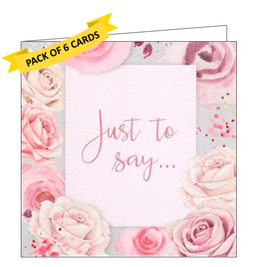 This pack of 6 notelets is decorated with a border of pink and cream coloured roses surrounding script that reads