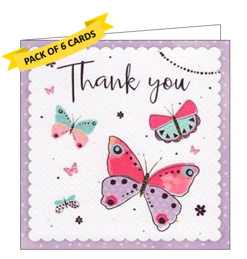 ICG pack of 6 thank you notelets butterflies