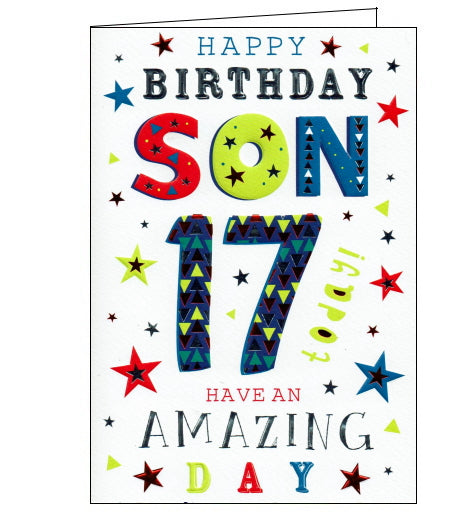 This 17th birthday card is for a special son w is decorated with brightly coloured jazzy text that reads