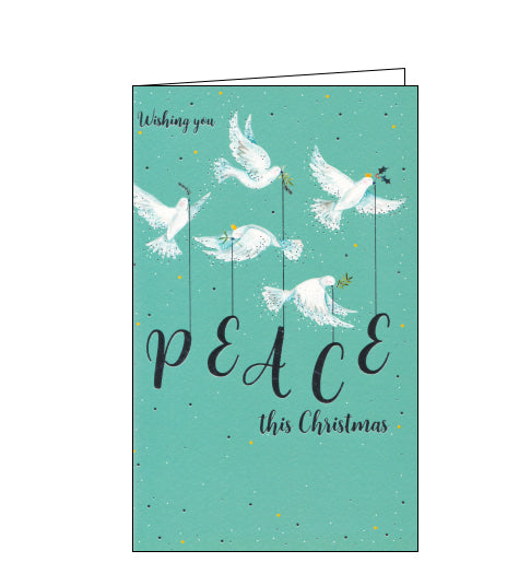 Five doves of peace, carrying holly and olive branches a silver letter spelling out