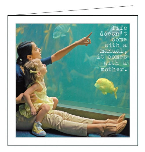 This simple but sweet Mother's Day card features a photograph of a Mum and little girl watching fish in an aquarium. White text on the card reads