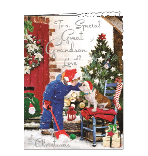 This Jonny Javelin Christmas card for a special Great-Grandson is decorated with a scene of a young boy in winter weather gear playing with a dog in a santa hat. Silver text on the front of this Christmas card reads