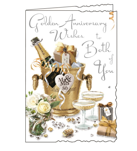 Jonny Javelin cards combine detailed illustrations with heartfelt messages. This Golden Anniversary card for a very special couple is illustrated with a table set with a bouquet of roses, champagne and gifts. The text on the front of the card reads