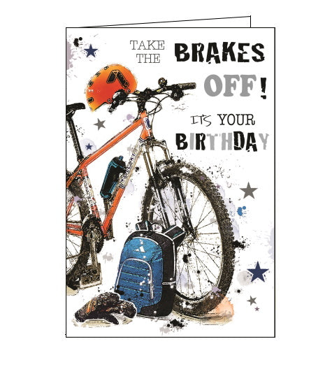 Jonny Javelin mountain biking birthday card