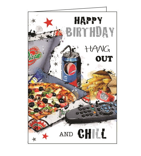 Jonny Javelin pizza birthday card boy