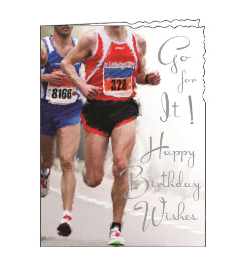Jonny Javelin running runner birthday card
