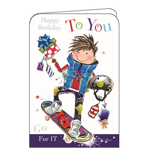 Jonny Javelin skateboard birthday card
