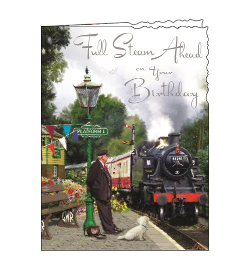 Jonny Javelin steam train birthday card