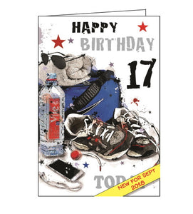 Jonny Javelin 17th birthday card boy