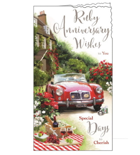 Jonny Javelin 40th wedding card ruby anniversary card Nickery Nook